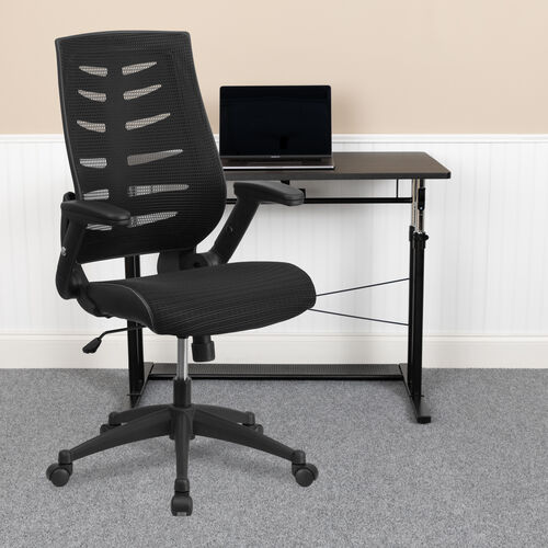 Our High Back Designer Black Mesh Executive Swivel Ergonomic Office Chair with Height Adjustable Flip-Up Arms is on sale now.