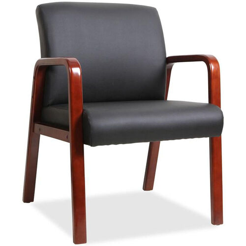 Our Lorell Mahogany Wood Frame Guest Armchair - Black Leather is on sale now.