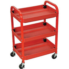 Adjustable Metal Frame 3 Shelf Mechanics Utility Cart - Red - 22