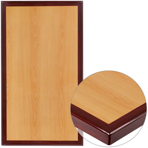 """Our 24"""" x 30"""" Rectangular 2-Tone High-Gloss Cherry Resin Table Top with 2"""" Thick Mahogany Edge is on sale now."""