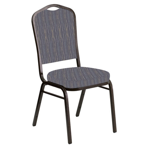 Our Embroidered Crown Back Banquet Chair in Mystery Hazelwood Fabric - Gold Vein Frame is on sale now.