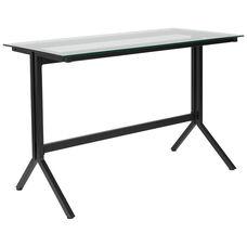 Highland Collection Glass Computer Desk with Black Metal Frame