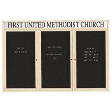 3 Door Indoor Illuminated Enclosed Directory Board with Header and Ivory Anodized Aluminum Frame - 48