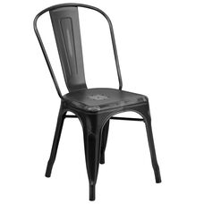 Commercial Grade Distressed Black Metal Indoor-Outdoor Stackable Chair