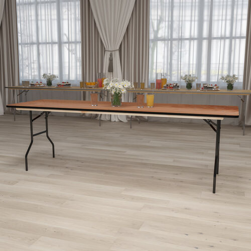 8-Foot Rectangular Wood Folding Banquet Table with Clear Coated Finished Top