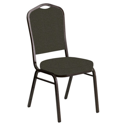 Our Crown Back Banquet Chair in Cobblestone Chocaqua Fabric - Gold Vein Frame is on sale now.