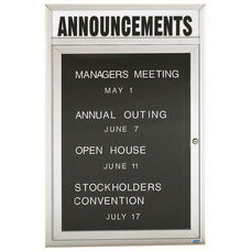 1 Door Indoor Illuminated Enclosed Directory Board with Header and Aluminum Frame - 48