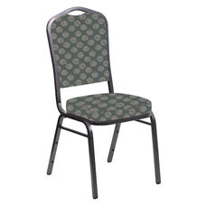 Embroidered Crown Back Banquet Chair in Cirque Olive Fabric - Silver Vein Frame