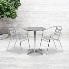 Commercial Aluminum Indoor-Outdoor Restaurant Stack Chair with Triple Slat Back and Arms