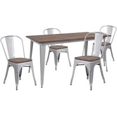 """30.25"""" x 60"""" Silver Metal Table Set with Wood Top and 4 Stack Chairs"""