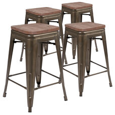 "24"" High Metal Counter-Height, Indoor Bar Stool with Wood Seat in Gun Metal Gray - Stackable Set of 4"