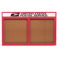 2 Door Indoor Illuminated Enclosed Bulletin Board with Header and Red Powder Coated Aluminum Frame - 36