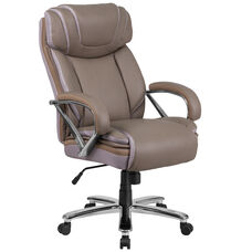 HERCULES Series Big & Tall 500 lb. Rated Taupe LeatherSoft Executive Swivel Ergonomic Office Chair with Extra Wide Seat