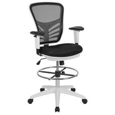 Mid-Back Black Mesh Ergonomic Drafting Chair with Adjustable Chrome Foot Ring, Adjustable Arms and White Frame