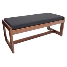 Belcino 19''H Backless Double Seat Bench with Cherry Wood Finish - Black