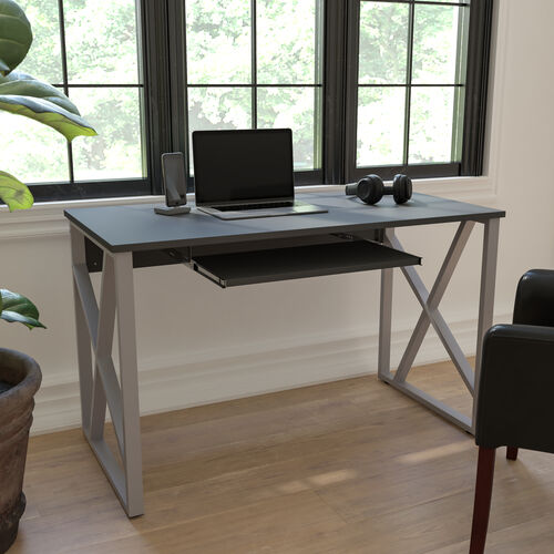 Black Computer Desk with Pull-Out Keyboard Tray and Cross-Brace Frame