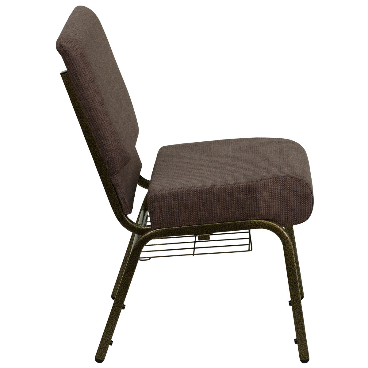 Hercules Series 21 W Church Chair In Brown Fabric With Cup Book Rack Gold Vein Frame