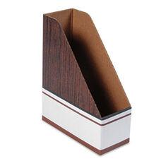 Bankers Box® Corrugated Cardboard Magazine File - 4 x 9 x 11 1/2 - Wood Grain - 12/Carton