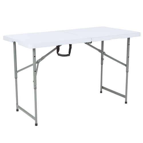 Our 4-Foot Height Adjustable Bi-Fold Granite White Plastic Folding Table is on sale now.