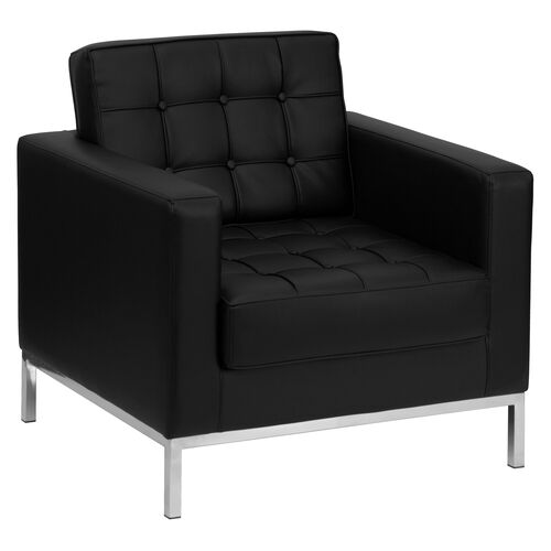 Our HERCULES Lacey Series Contemporary Black Leather Chair with Stainless Steel Frame is on sale now.