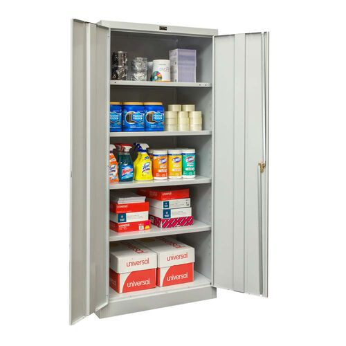 Our 800 Series Antimicrobial One Wide Single Tier Double Door Storage Cabinet - Assembled - Light Gray - 36