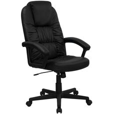 High Back Black Leather Executive Swivel Office Chair with Arms