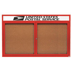 2 Door Indoor Enclosed Bulletin Board with Header and Red Powder Coated Aluminum Frame - 48