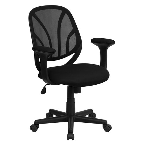 Our Y-GO Office Chair™ Mid-Back Black Mesh Swivel Task Office Chair with Arms is on sale now.