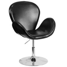HERCULES Trestron Series Black LeatherSoft Side Reception Chair with Adjustable Height Seat