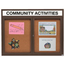 2 Door Indoor Enclosed Bulletin Board with Header and Bronze Anodized Aluminum Frame - 48