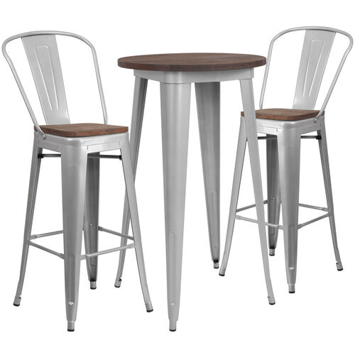 """24"""" Round Silver Metal Bar Table Set with Wood Top and 2 Stools"""