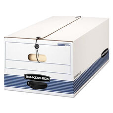Bankers Box® STOR/FILE Storage Box - Legal - String and Button - White/Blue - 4/Carton
