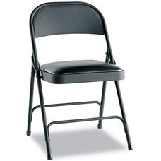 Alera® Steel Folding Chair w/Padded Seat- Graphite- 4/Carton