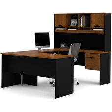 Innova U-Shaped Workstation Kit - Tuscany Brown and Black