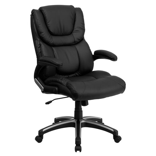 Our High Back Black Leather Executive Swivel Office Chair with Double Layered Headrest and Open Arms is on sale now.