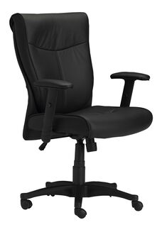 Mercado Adjustable Height Leather Arm Chair with Adjustable Arms - Black