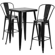 """Commercial Grade 23.75"""" Square Black Metal Indoor-Outdoor Bar Table Set with 2 Stools with Backs"""