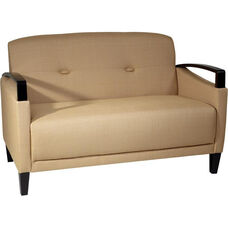 Ave Six Main Street Loveseat with Espresso Finish Legs and Curved Arms - Wheat