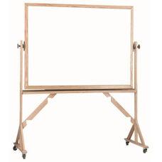 Reversible Free Standing Melamine White Marker Board with Red Oak Frame