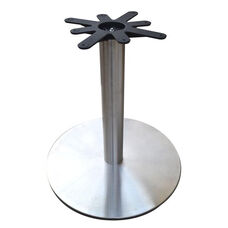 Stainless Steel Round Dining Height Table Base with 28'' Base Spread and 17'' Top Plate