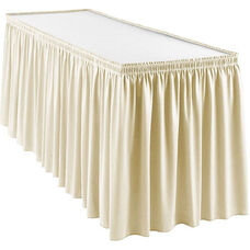 Wyndham 21 Foot Shirred Pleat Table Skirt with SnugTight™ Clips - Bone