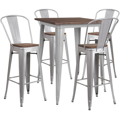 "31.5"" Square Silver Metal Bar Table Set with Wood Top and 4 Stools"