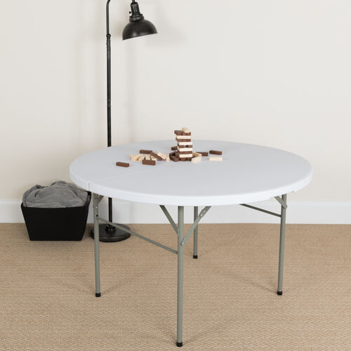4-Foot Round Bi-Fold Granite White Plastic Banquet and Event Folding Table with Carrying Handle
