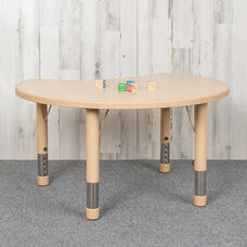 "25.125""W x 35.5""L Crescent Natural Plastic Height Adjustable Activity Table"