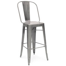Dreux 30''H Clear Gunmetal Steel Bar Chair - Set of 4