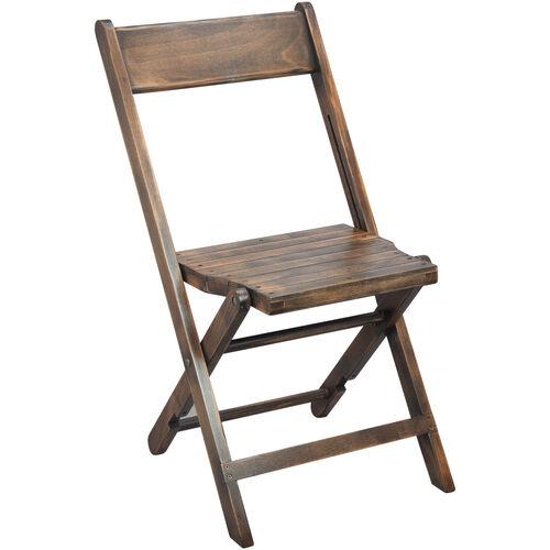 Advantage Slatted Wood Folding Special Event Chair - Antique Black