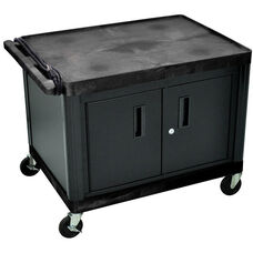 2 Shelf High Open A/V Utility Cart with Locking Cabinet and 3 Outlet Surge - Black - 32