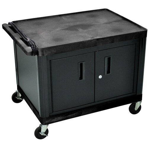 Our 2 Shelf High Open A/V Utility Cart with Locking Cabinet and 3 Outlet Surge - Black - 32
