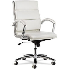 Alera® Neratoli Mid-Back Swivel/Tilt Chair - White Stain-Resistant Faux Leather - Chrome