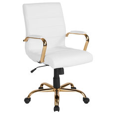 Mid-Back White LeatherSoft Executive Swivel Office Chair with Gold Frame and Arms